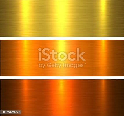 Metal textures gold, brushed metallic warm backgrounds vector illustration.