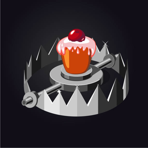 Metal trap with cake. Realistic vector illustration. vector art illustration