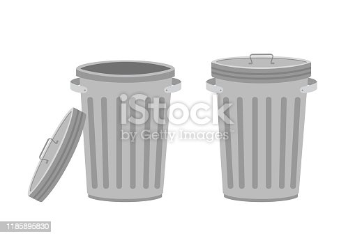 istock Metal trash can. Garbage cans with open and closed cover. Isolated on white 1185895830