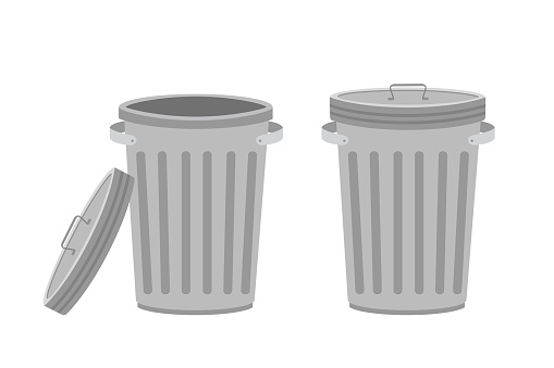 Metal trash can. Garbage cans with open and closed cover. Isolated on white