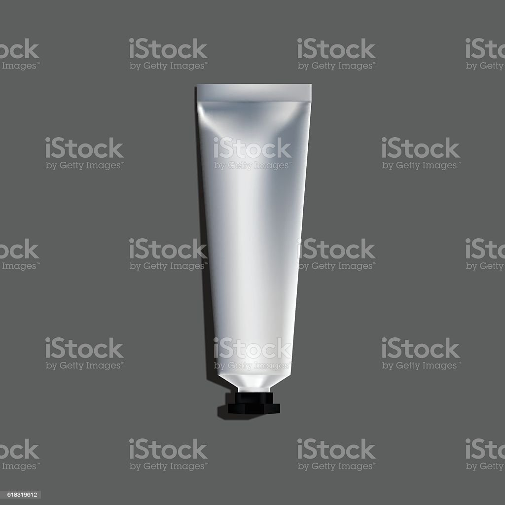 Metal tube packaging. vector art illustration