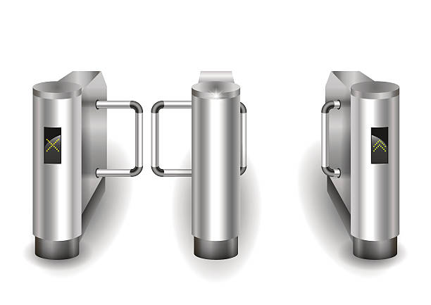 Metal turnstiles to enter Input metal turnstile checkpoint for visitors or passengers. Vector graphics airport borders stock illustrations