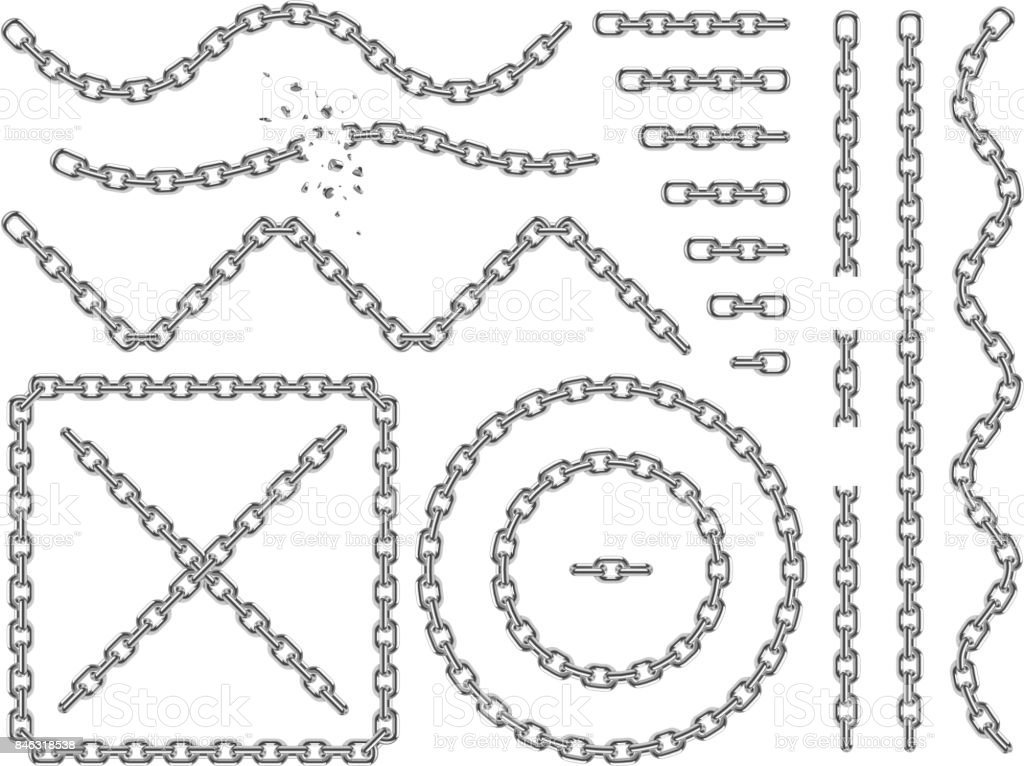Metal vector chains isolated. Chrome chain icons and brushes set vector art illustration
