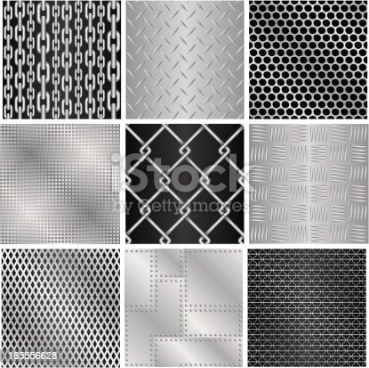 A series of nine tileable metallic textures, including non-skid surfaces, grids, chainlink fence and riveted plates. (p.s. If you're not happy with the tiling of the first texture, please contact me)