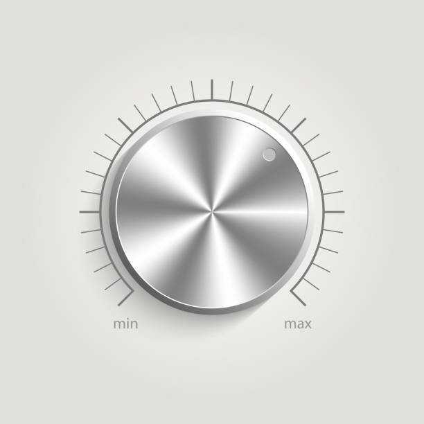 Metal vector volume music control Metal vector volume music control with a scale from low to high, volume knob, for websites knob stock illustrations
