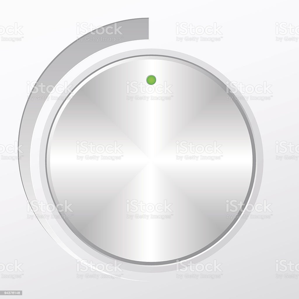 A metal volume knob turned to indicate its highest setting royalty-free stock vector art