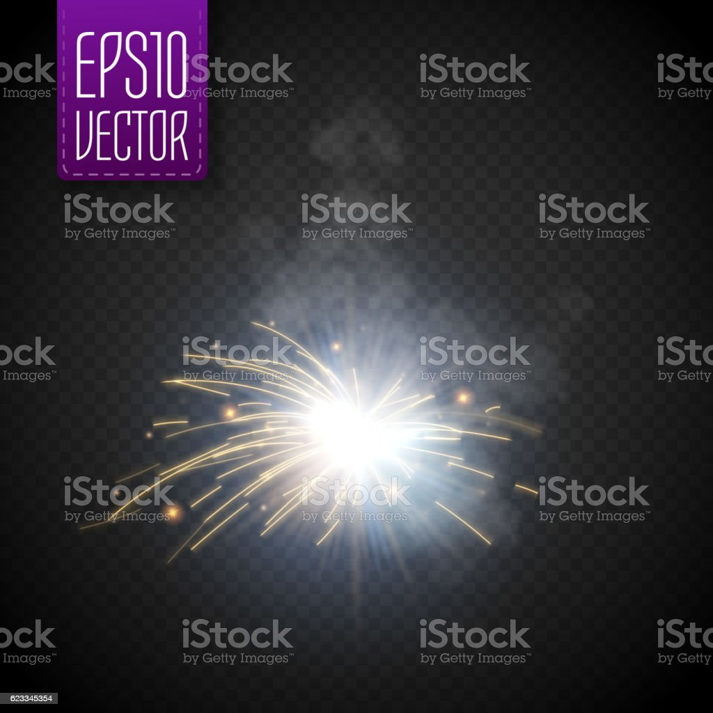 Metal Welding with sparks isolated on transparent background. Vector vector art illustration
