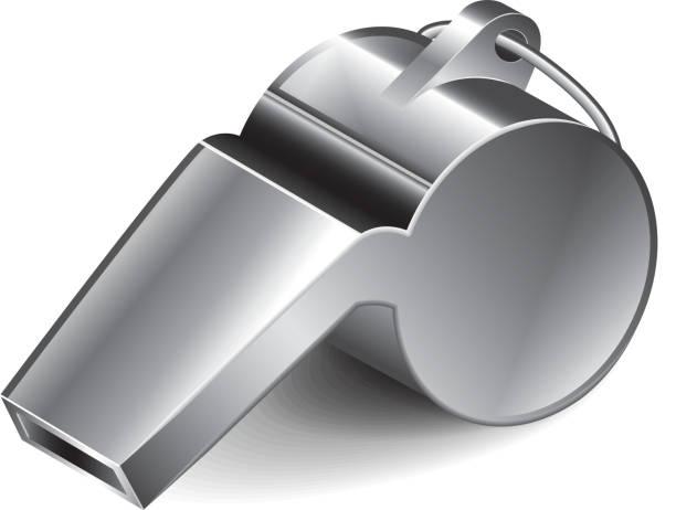 illustrazioni stock, clip art, cartoni animati e icone di tendenza di metallo whistle illustrazione vettoriale - fischietto