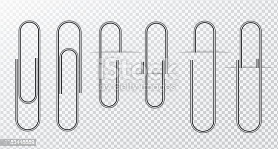 Metal wire paper clip On a transparent background