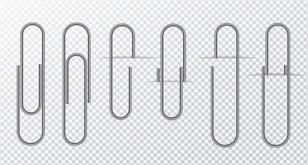투명 한 배경에 금속 와이어 종이 클립 - 종이 클립 stock illustrations