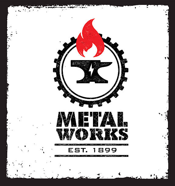 metall-works  - metallverarbeitung stock-grafiken, -clipart, -cartoons und -symbole