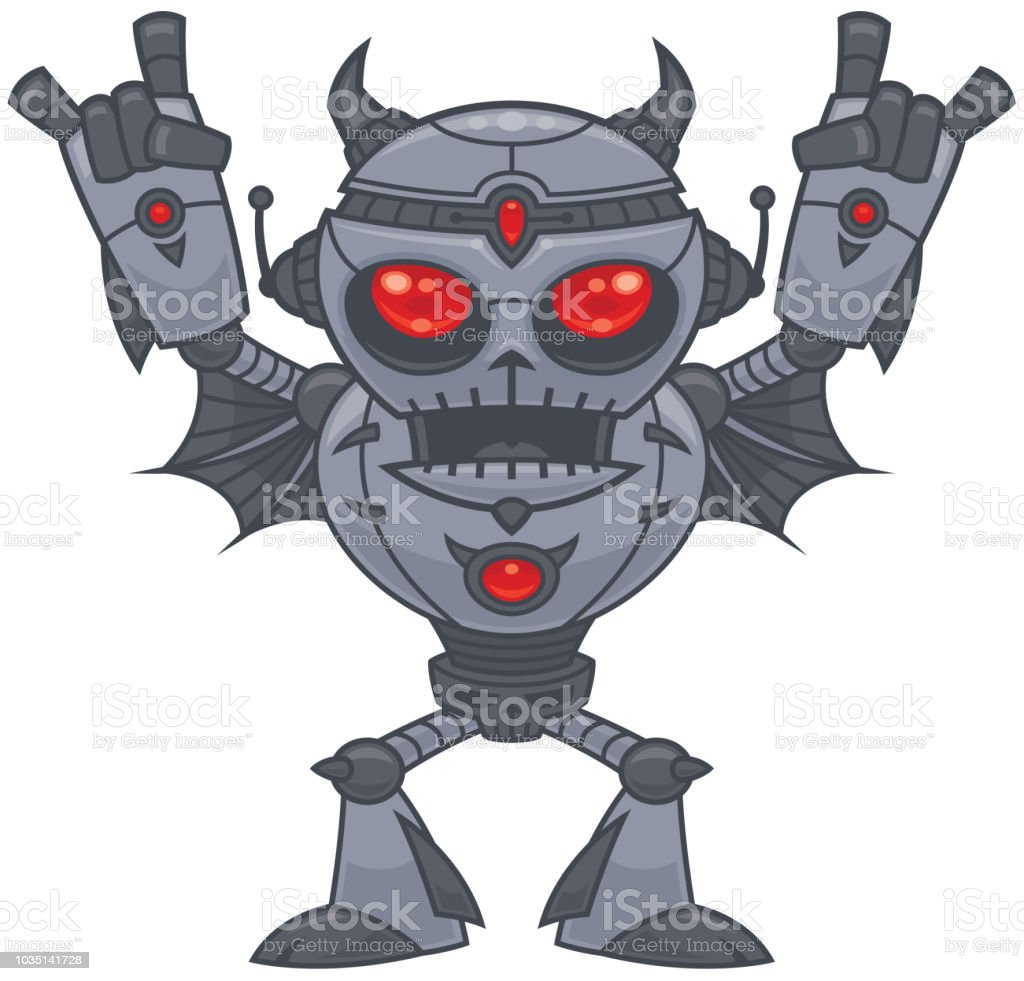 Metalhead - Heavy Metal Robot vector art illustration