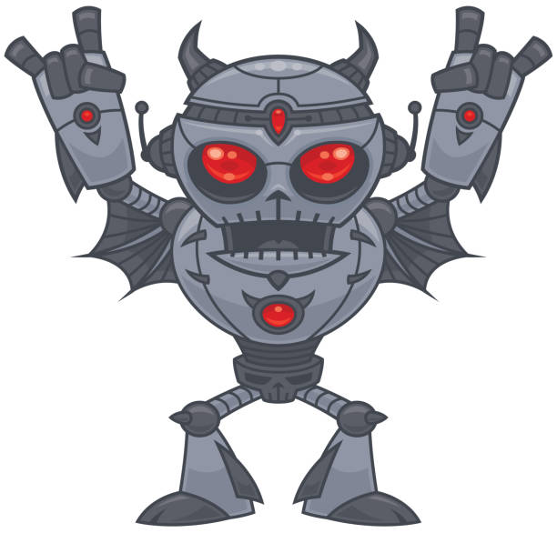 Metalhead - Heavy Metal Robot vector art illustration