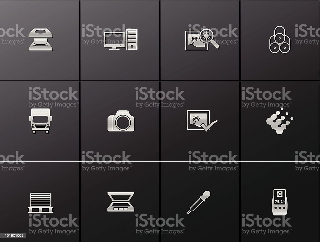Metalic Icons - Printing & Graphic Design royalty-free metalic icons printing graphic design stock vector art & more images of cmyk