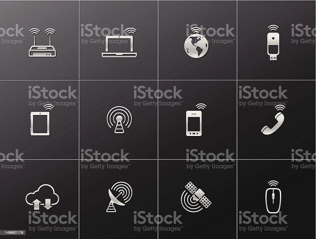 Metalic Icons - Wireless royalty-free stock vector art