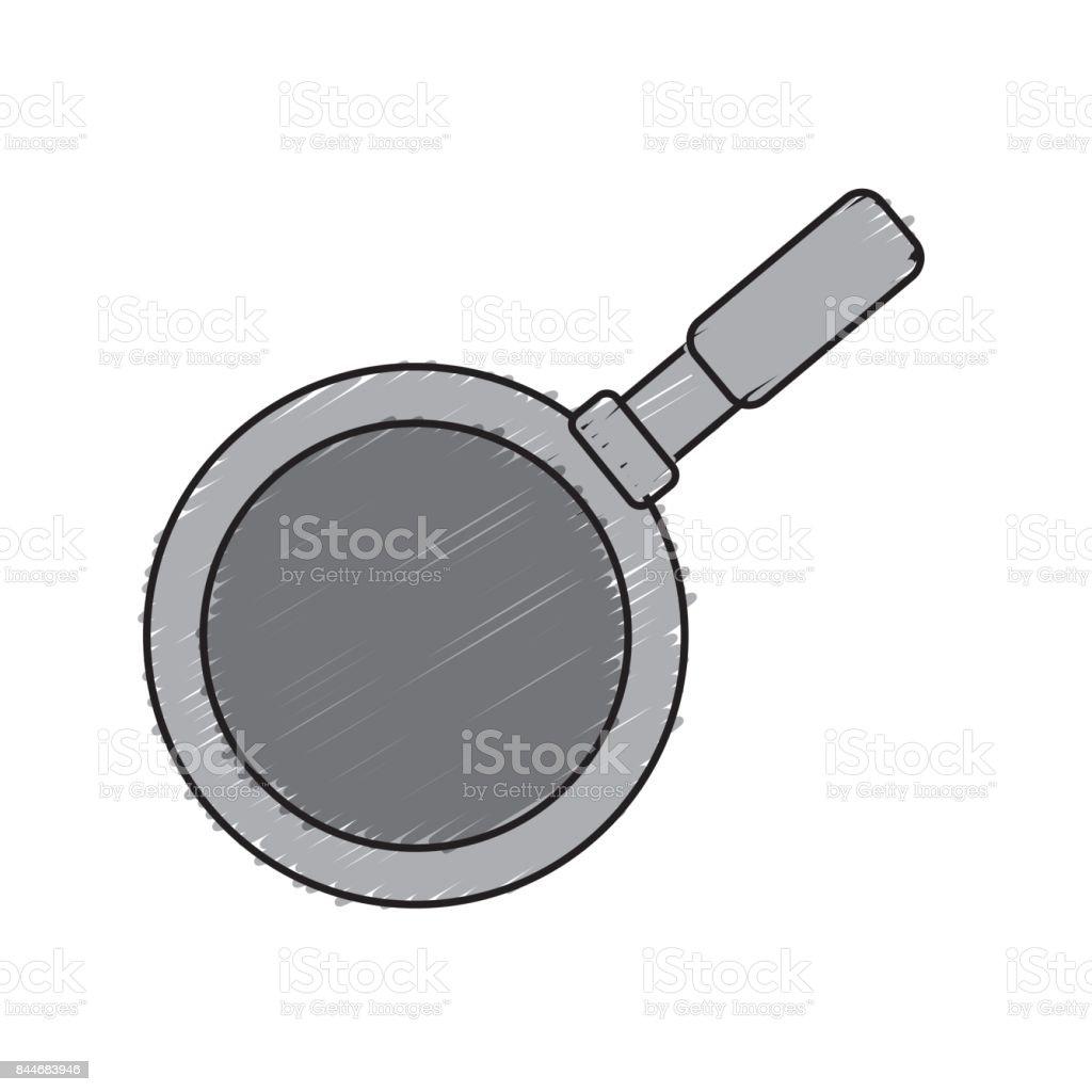 Metalic Skillet Pan Kitchen Utensil stock vector art 844683946 | iStock