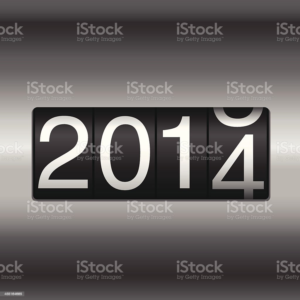 Metallic 2014 New Year Odometer vector art illustration