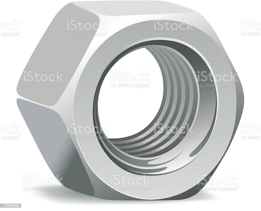 Metallic 3D nut royalty-free stock vector art