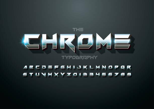 ilustrações, clipart, desenhos animados e ícones de alfabeto metálico - cromo metal