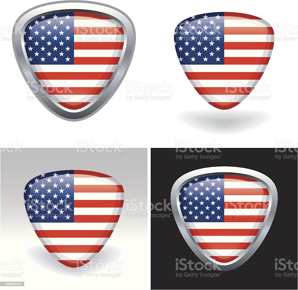 Metallic American (USA) Flag Icons royalty-free stock vector art