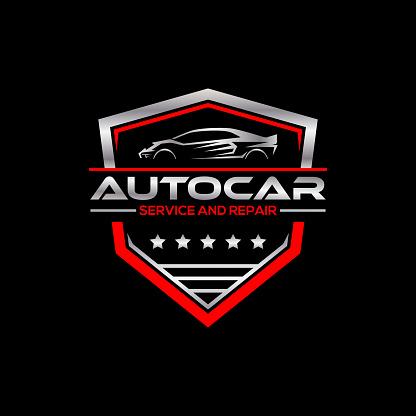metallic automotive symbol premium Vector, service and repair shop symbol badge design