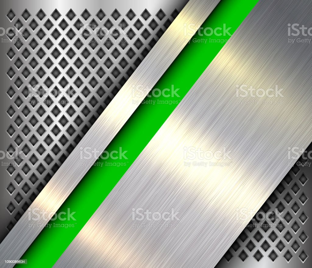 Metallic background silver green, polished steel texture over...