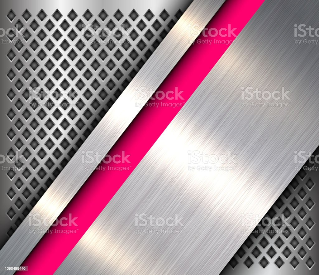 Metallic background 3D silver pink, polished steel texture over...