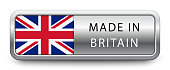 MADE IN BRITAIN metallic badge with national flag isolated on white background. Vector EPS 10