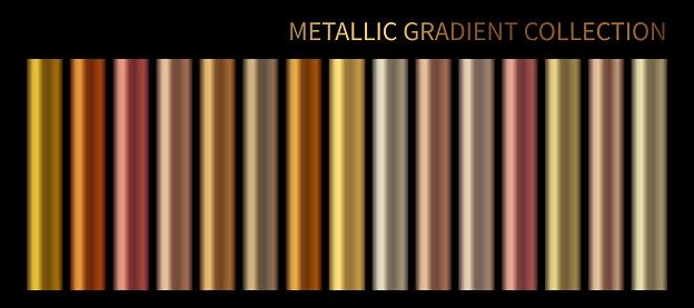 Metallic, bronze, silver, gold, chrome, copper metal foil texture gradient template Vector swatch set. Metallic gradient illustration gradation for backgrounds, banner interface Vector template design