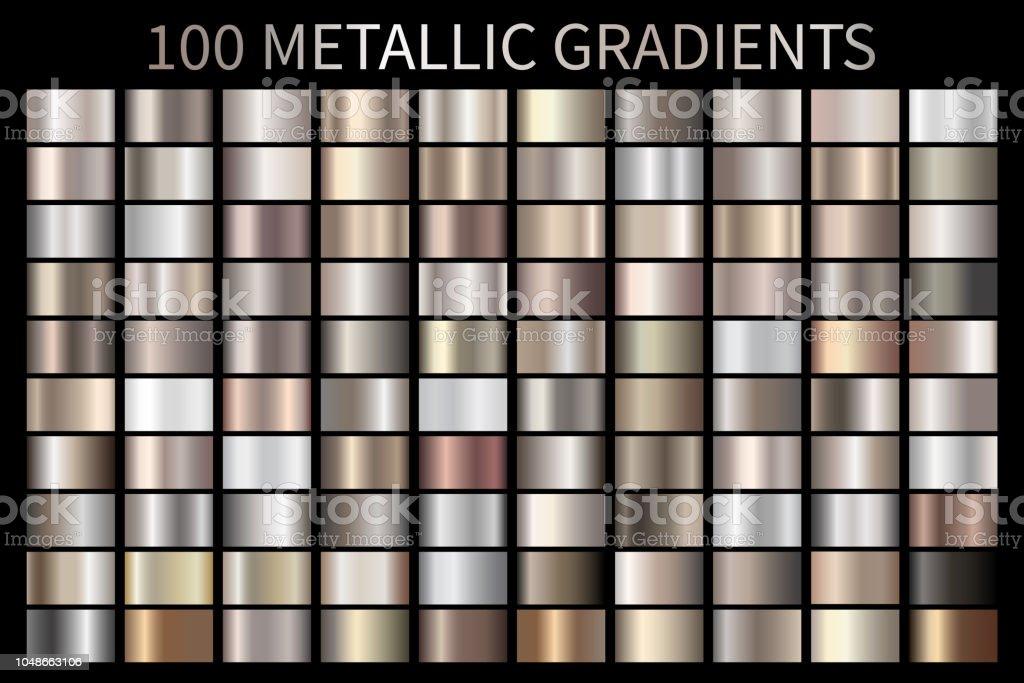 Metallic, bronze, silver, gold, chrome metal foil texture gradient - Royalty-free Abstrato arte vetorial