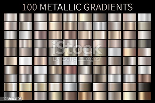 Metallic, bronze, silver, gold, chrome metal foil texture gradient template Vector swatch set. Metallic gradient illustration gradation for backgrounds, banner, user interface Vector template design