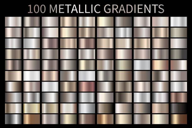 ilustrações, clipart, desenhos animados e ícones de metálico, bronze, prata, ouro, cromo alumínio textura gradiente - cromo metal