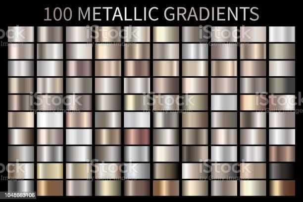 Metallic Bronze Silver Gold Chrome Metal Foil Texture Gradient - Arte vetorial de stock e mais imagens de Abstrato