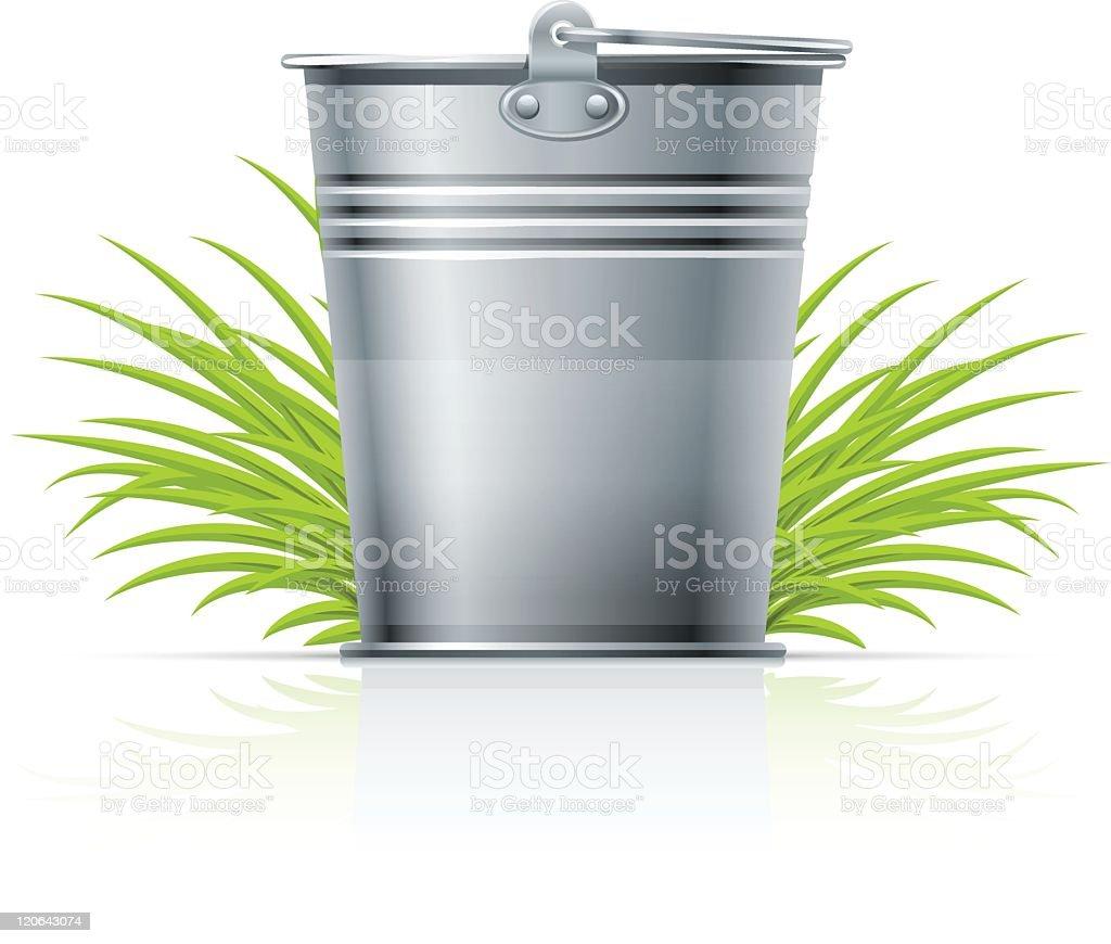 metallic bucket in grass vector art illustration