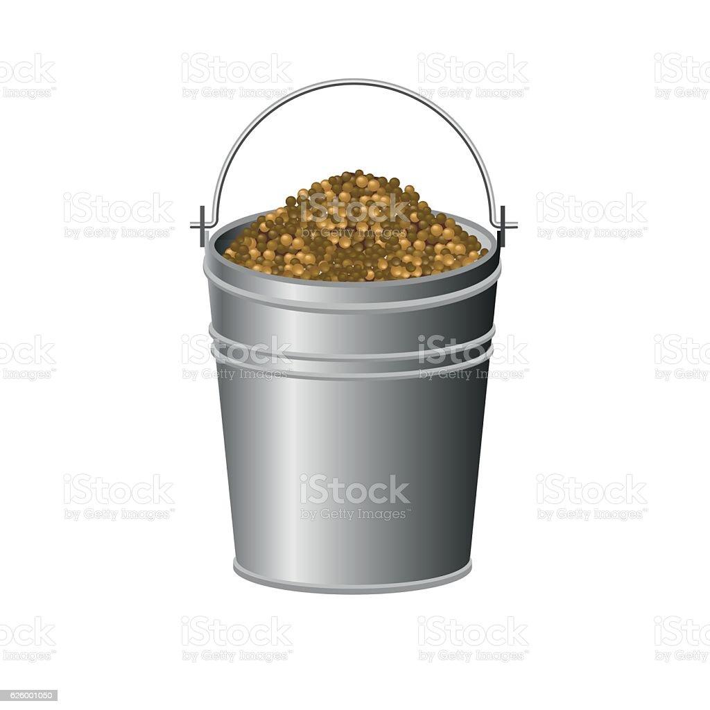Metallic bucket vector art illustration