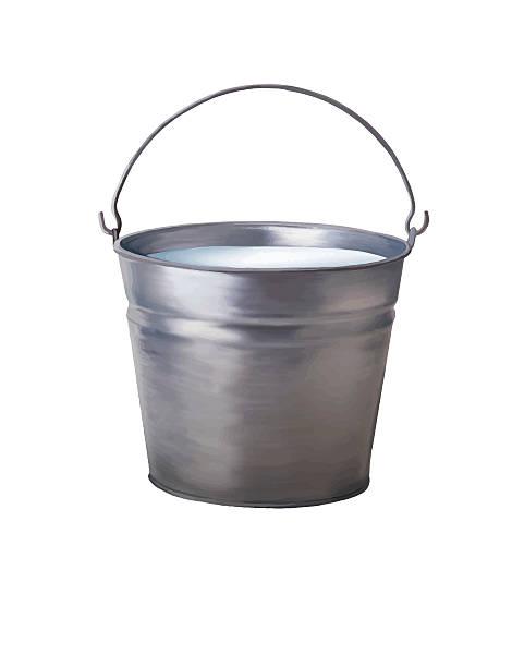Metallic bucket with milk vector art illustration