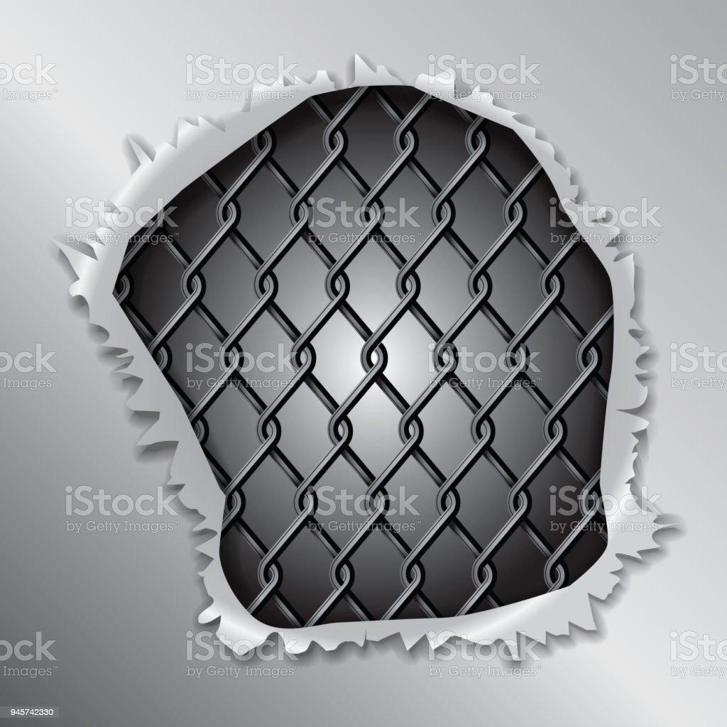 Metallic Fence Concept vector art illustration