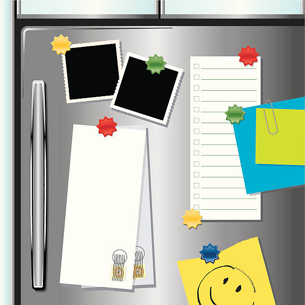 Metallic Fridge with Magnets A modern stainless steel looking fridge with assorted papers, frames and magnets. New metal fridges now have the ability to hold magnets! shopping list stock illustrations