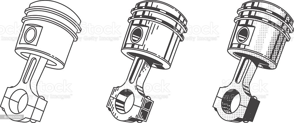Metallic Gear Piston Car Engine Part Set Stock Vector Art & More ...