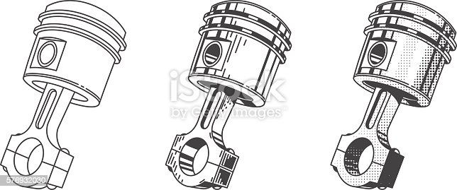 Metallic Gear Piston Car Engine Part Set Stock Vector Art