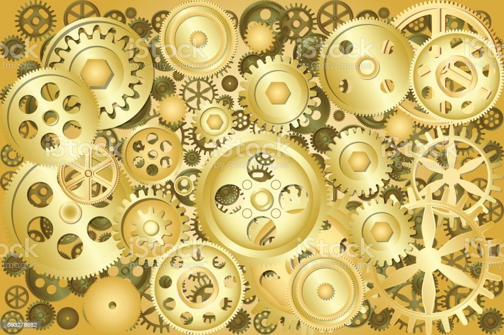 metallic gear wheels as industrial technical or steampunk background