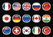 World Flags on metallic glossy button on black background.  Created in Adobe Illustrator.