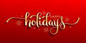 istock HAPPY HOLIDAYS metallic gold brush calligraphy card 1283698848