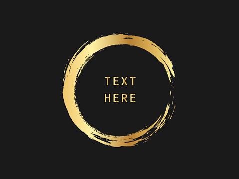 Metallic gold circle shape. Label, logo design element, frame. Brush abstract wave. Vector illustration.
