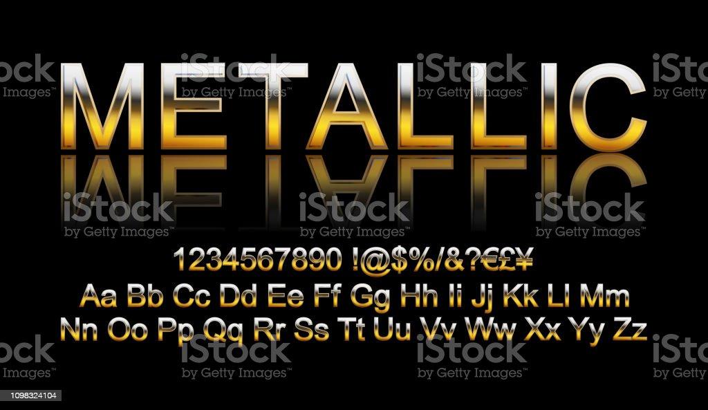 Metallic Gold Font Stock Illustration - Download Image Now - iStock