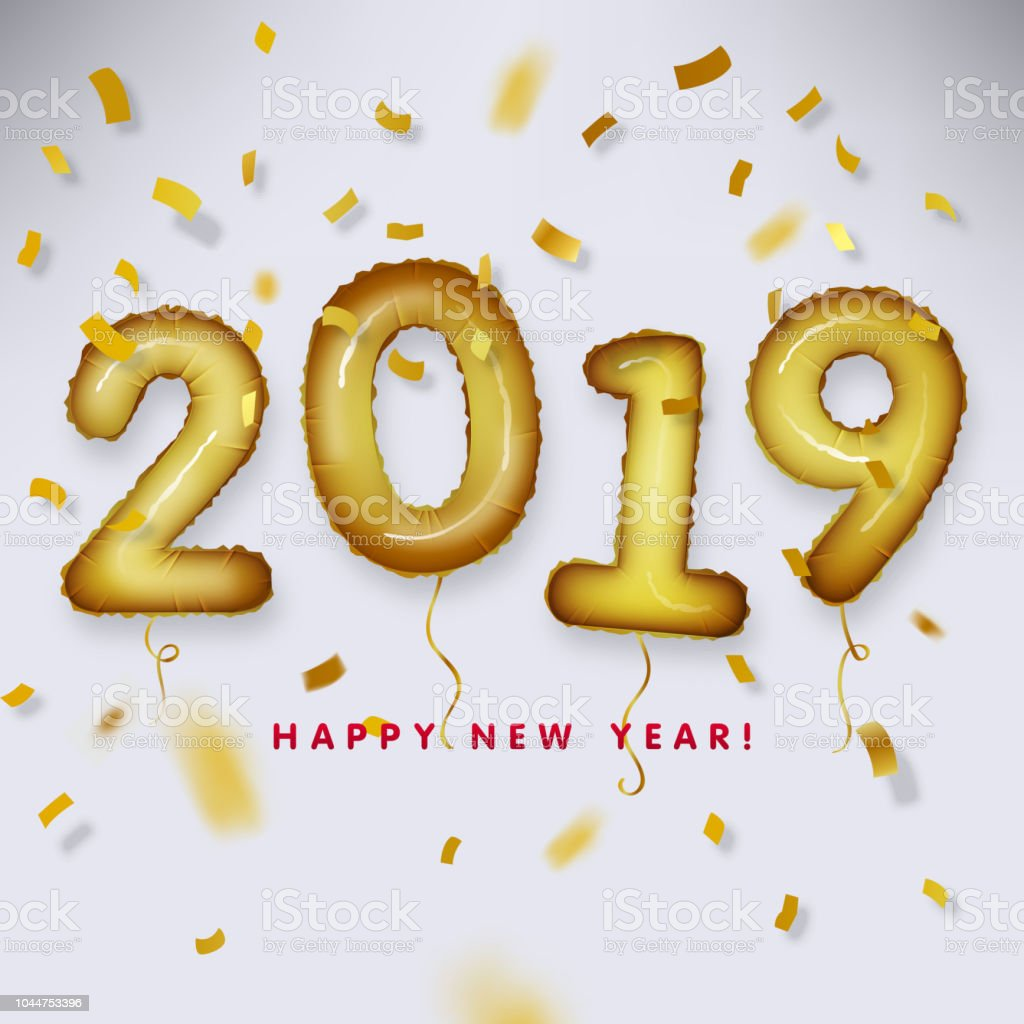 metallic gold letter balloon 2019 happy new year royalty free metallic gold letter