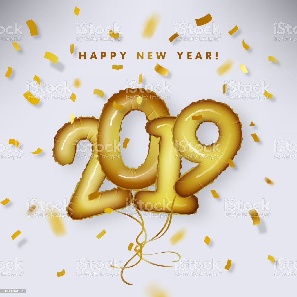 Metallic Gold Letter Balloon, 2019 Happy new year, Gold Foil Number...