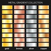 Metallic gradations. Argent and copper gradients, gold and bronze metals, silver texture, rose iron frame, polished metal or foil, vector illustration