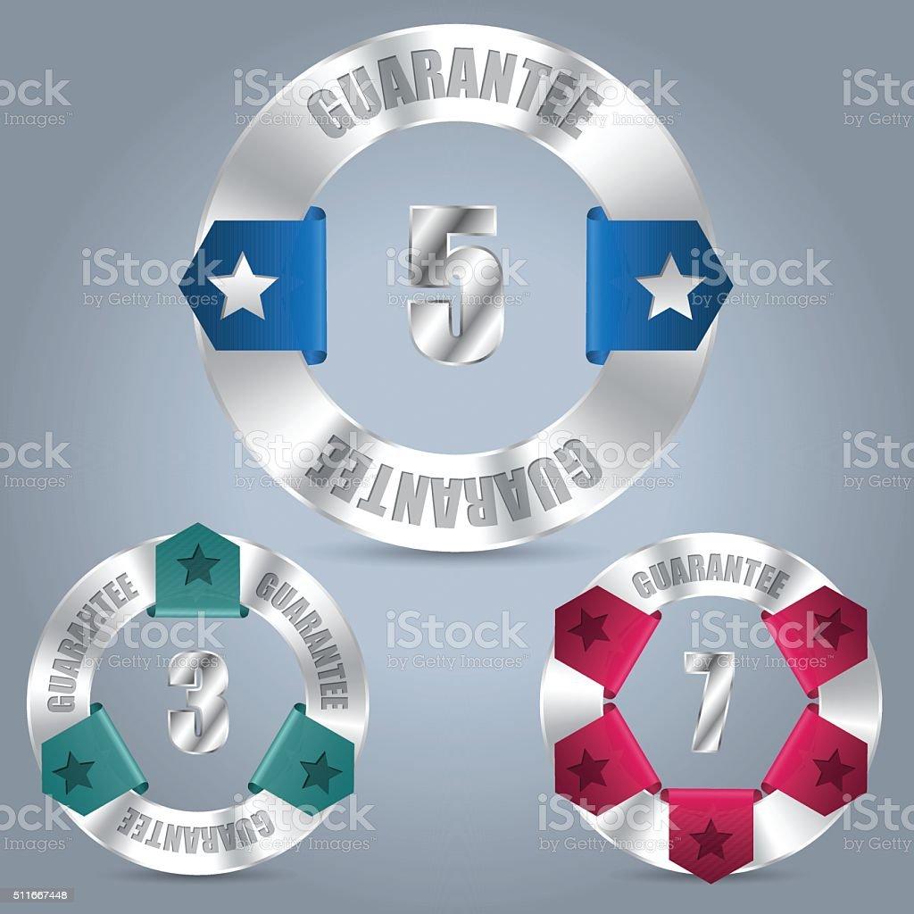Metallic Guarantee Badge Set With Color Ribbons Stock