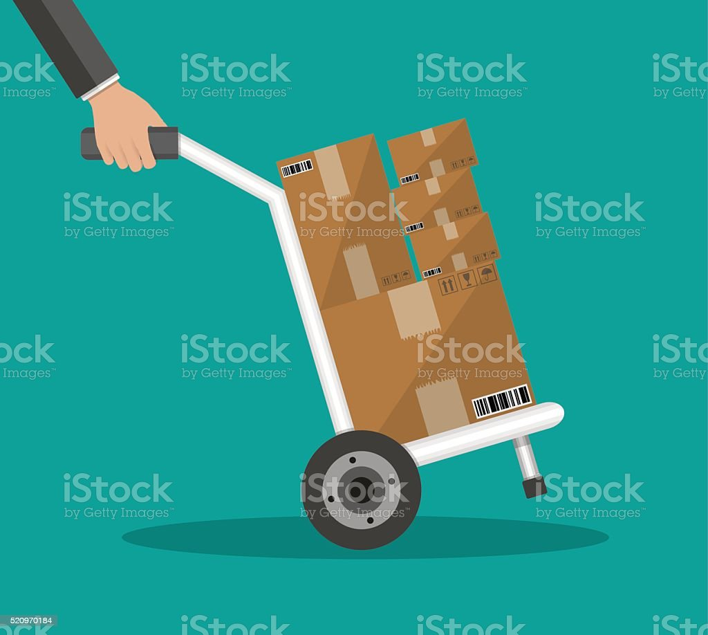 Metallic hand truck with boxes vector art illustration